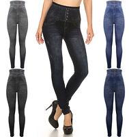 New Women Ladies Fashion Skinny High Waist Denim Leggings Jeans Jeggings 6-22 UK