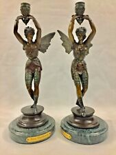 Rare Vintage Pair Bronze on Marble Base Fairy Candlesticks 16""