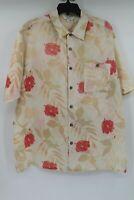 Vintage Genelli hawaiian linen shirt floral button up short sleeve men's size XL