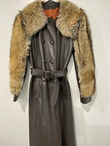 Vintage 1970s Belted Brown Leather Long Trench Coat w Fur Sleeves Collar S / M