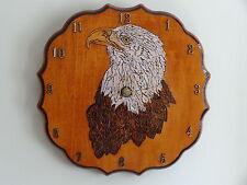 "10 1/2"" x 10 1/2"" Wood Burned/ Hand-Painted Eagle Clock/Folk Art/Rustic"