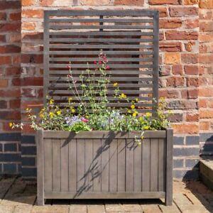 Alderley Wooden Rectangular Planter with Lattice Trellis Hardwood Grey