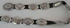Large fine Vincent James Platero sterling silver Navajo rug design concho belt