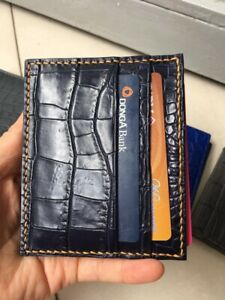 Crocodile Leather Credit Card Holder Card Case Genuine Alligator BLUE NAVY