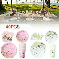 Paper Plates Cups Napkins Wedding Party Supplies 40Pcs isposable Kit O5Y9