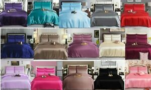 6PC SATIN SILK COMPLETE BEDDING SET  DUVET COVER FITTED SHEET 4 PILLOW CASE