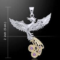 Fliegender Phönix Anhänger Amethyst Silber Teilvergoldet Gothic Schmuck - NEU