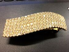 Beautiful Hair Clip in Gold Colour with 6 Rows Crystal Rhinestones