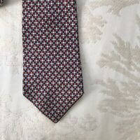 Vintage Dunhill Tailors Silk Red Blue Patterned Mens Tie Necktie