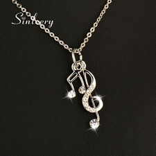 Trendy Musical Notes Pendant Women Silver Necklace Chain Hot Sale Statement 2017
