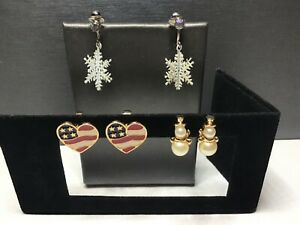 Holiday Themed Lot of Snowman Snowflake Flag Heart Costume Clip Earrings