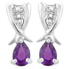 Ohrringe/Ohrstecker Lucinda, 925er Silber, 0,7 Kt. echter Amethyst/Diamant