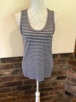 Laura Ashley Lovely Ladies Black & White Striped Vest Top Size 16 VGC