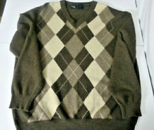Sweater Men's 100% Cashmere MEMBERS MARK XL Brown Argyle V Neck Made in Italy