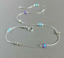 ANKLET OPAL 925 Sterling Silver Chain blue & purple Birthstone Ankle Bracelet
