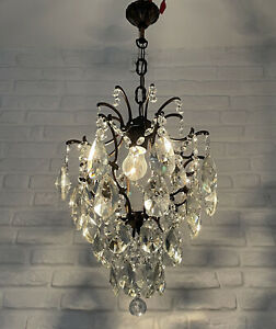 Antique Vintage Brass & Crystals Cage Style Chandelier Ceiling Lamp Lighting