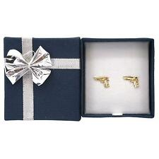 14K Yellow Gold Handgun Pistol Gun Stud Earrings with Bow Tie Jewelry Gift Box