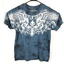 Affliction Men's XL Graphic Blue T-Shirt Distressed Collar Cuffs Skulls Cross