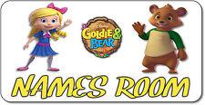 Personalised Goldie And Bear Aluminium Door Name Plaque