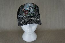 Unisex Ed Hardy by Christian Audigier  skull embroidered snap-back baseball hat.