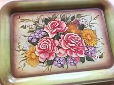 Vintage TV Tray Metal Green Flower Bouquet Roses Distressed Look Set of 4