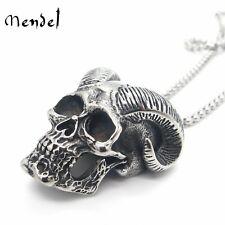 MENDEL Stainless Steel Goth Mens Halloween Satanic Devil Skull Pendant Necklace