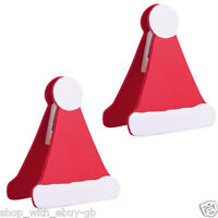 2 X SANTA HAT TABLE PLACE CARD HOLDERS / SETTINGS - CHRISTMAS PARTY DECORATION