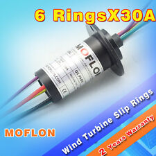 MW1630 LARGE CURRENT SLIP RINGS with 6 wires@ 30A, MOFLON  6 conductor slip ring