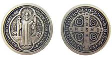 "MRT One Saint Benedict Antique Finish Silver Plate Catholic Coin Medal 1"" Italy"