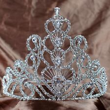 Heart Wedding Bridal Tiaras Large Crowns Clear Rhinestones Pageant Prom Party