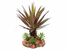 Desert Plant with Rock Base Reptile Terrarium Vivarium Decoration