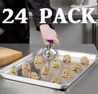 "24 PACK Half Size Aluminum 18"" x 13"" Bun Sheet Baking Pan Wire in Rim Commercial"