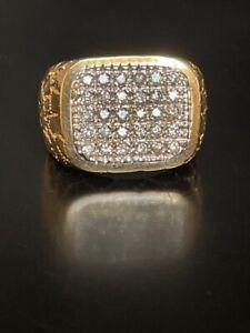 STUNNING MEN'S 14K YELLOW GOLD 1 CT PAVÉ DIAMONDS SIGNET RING SIZE 10.25