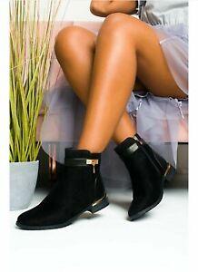 New Ladies Womens Buckle Low Block Heel Zip Chelsea Ankle Boots Shoes Size 3-8