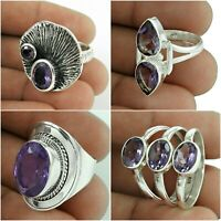 Amethyst Ring Natural Gemstone 925 Sterling Silver Handmade Jewelry Size 6 US