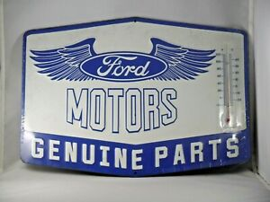 "NEW FORD MOTORS GENUINE PARTS 15""   METAL  EMBOSSED SIGN W/THERMOMETER"
