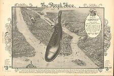 New York City, Birds Eye View, Regal Shoe Ad, Vintage 1898 Antique Print Ad