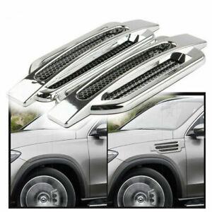Silver Chrome Car Bonnet Air Intake Flow Side Fender Vent Hood Scoop Door Covers
