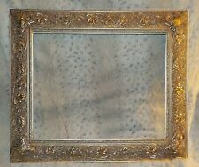 "Heavy ornate silver leaf wood frame, 16"" x 20"", 3 1/2"" rails, open back, 1"" deep"