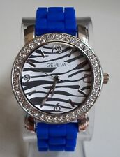 Fashion Colorful Zebra Print Jelly Silicone Rhinestone Girls,Womens Casual Watch