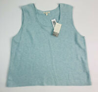 New Eileen Fisher Women's XL Blue 100% Cotton Tank Top Sleeveless Knit Blouse