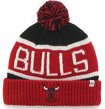 CHICAGO BULLS NBA VINTAGE WINTER KNIT 47 BLK/RED 2-TONE POM BEANIE CAP HAT NEW!