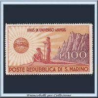 1946 San Marino UNRRA L. 100 bruno arancio e violetto n. 296 Nuovo Integro **