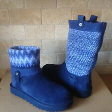 UGG Saela Icelandic Navy Suede Wool Cuff Short / Ankle Boots Size US 7 Womens