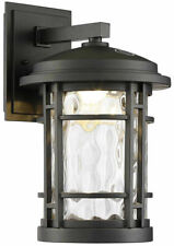 "Altair 9"" Led Outdoor Wall Lantern AL2167 Burnished Bronze Clear Hammered Glass"