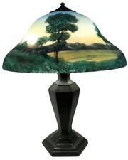 Antique CLASSIQUE Signed Arts Crafts Handel-era Reverse Painted Glass Shade Lamp
