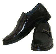 Good Fellas Black Dress Shoes Loafers Boys Size 4 Leather Lined
