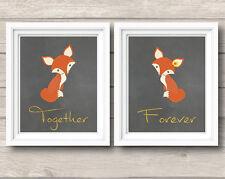 2x FOX ART PRINTS MODERN WEDDING VALENTINE WALL DECOR DECAL GOLD TYPOGRAPHY LOVE