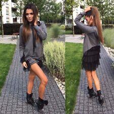 Damen Hoodie Pullover Pulli Sweatshirt Longpullover Bluse One Size Bordeaux