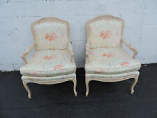 French Pair of Vintage Wide Living Room Side by Side Chairs 7544